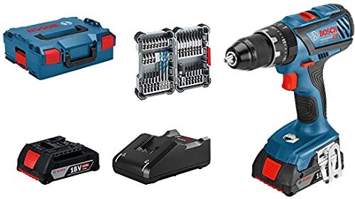Bosch Professional 18V System Akku Schlagbohrschrauber GSB 18V-28 (max. Drehmoment: 63 Nm, inkl. 35tlg. Impact Zubehör-Set, 2x 2,0 Ah Akku, Ladegerät GAL 18V-40, in L-BOXX 136) - Amazon Exclusive