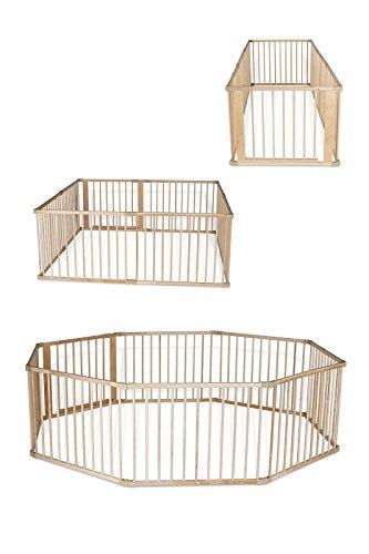 dibea Baby-Laufstall Holz-Laufgitter mit Tür 8 Elemente je 90 x 68 cm