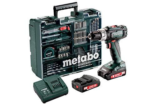 Metabo Akku Schlagbohrschrauber SB 18 L (2 Akkus 2,0 Ah, 18 V, Schlagschrauber mit Koffer + umfangreiches Zubehör-Set) 602317870, 1 V, Schwarz