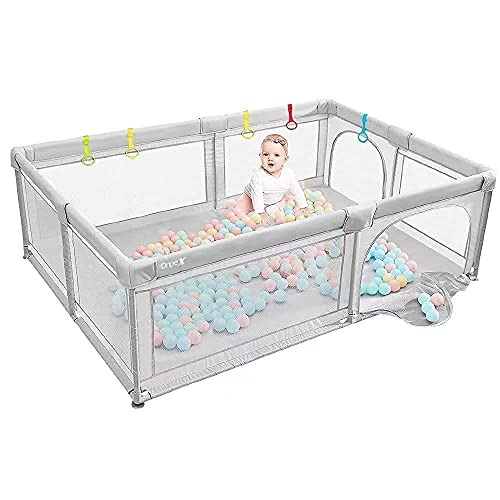 Dripex Laufstall Baby Laufgitter Absperrgitter mit atmungsaktivem Netz 150x200cm Schutzgitter Krabbelgitter für Kinder, große Sicherheitsspielplatz, Grau