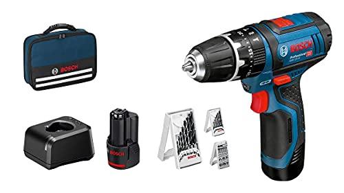 Bosch Professional 12V System Akku Schlagbohrschrauber GSB 12V-15 (Bohr-Ø Holz max: 19 mm, inkl. 2x2,0 Ah Akku + Ladegerät, 3x Bohrer-Set, in Tasche) - Amazon Exclusive