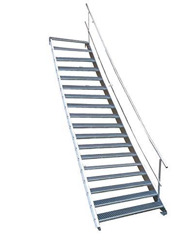 18 Stufen Stahltreppe mit einseitigem Geländer/Breite 100cm Geschosshöhe 299-360cm / Robuste Außentreppe/Wangentreppe/Stabile Industrietreppe für den Außenbereich/Inklusive Zubehör