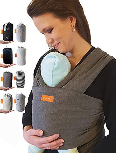 Kleiner Held® Baby Tragetuch - hochwertiges elastisches Tragetuch - Babytrage für Früh- und Neugeborene Babys ab Geburt bis 18 kg inkl. Bindeanleitung und Aufbewahrungstasche I Farbe dunkelgrau