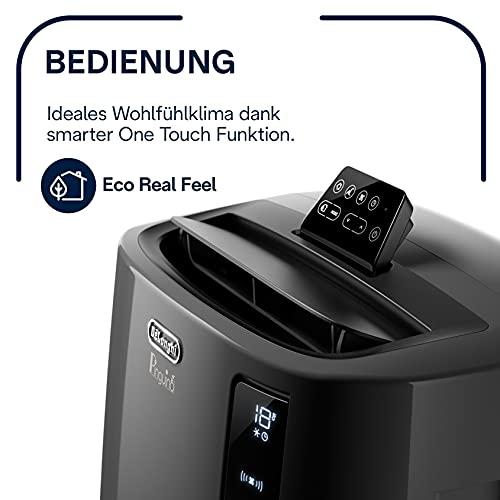 De'Longhi Pinguino PAC EL112 CST mobiles Klimagerät mit Abluftschlauch, Klimaanlage Für Räume bis 110 m³, Luftentfeuchter, Ventilationsfunktion, 24h-Timer, schwarz