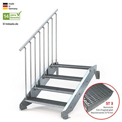 Außentreppe 4 Stufen 90 cm Laufbreite - einseitiges Geländer links - Anstellhöhe variabel von 62 cm bis 84 cm - Gitterroststufe ST3 - feuerverzinkte Stahltreppe mit 900 mm Stufenlänge als montagefertiger Bausatz