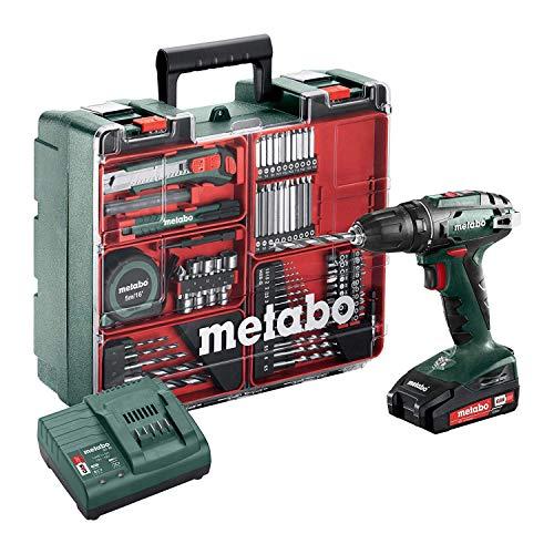 Metabo Akku-Bohrschrauber BS 18 Set (602207880) 18V 2x Li-Ion; Ladegerät SC 30; Kunststoffkoffer; Mobile Werkstatt, Art des Akkupacks: Li-Ion , Akkuspannung: 18 V, Akkukapazität: 2 x 2 Ah