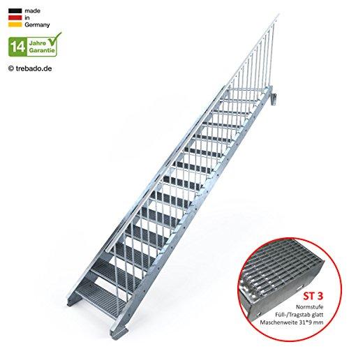 Außentreppe 14 Stufen 80 cm Laufbreite – einseitiges Geländer rechts - Anstellhöhe variabel von 233 cm bis 280 cm - Gitterroststufe ST3 - feuerverzinkte Stahltreppe mit 800 mm Stufenlänge als montagefertiger Bausatz