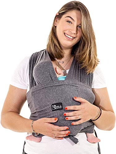 Baby Tragetuch-Leichtes Anziehen (Easy-On) - Unisex - Babytrage Neugeborene - Multi-Use - Bis 10kg - Babytragetuch Anthrazitgrau - Koala Cuddle Band - eingetragenes Design KBC®