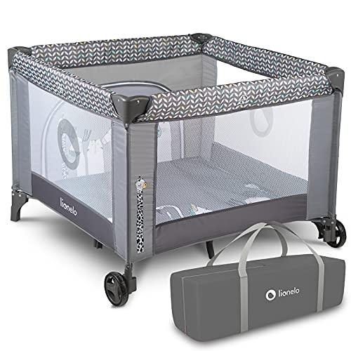Lionelo Fie Laufstall Laufstall Baby Baby Bett Reisebett Baby ab Geburt bis 15 kg Seiteneingang Lockguard System und Blockade der Räder Tragetasche zusammenklappbar (Grau)