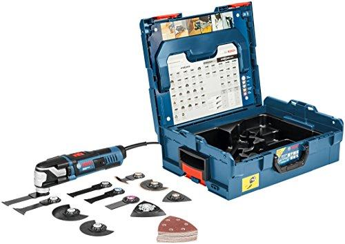 Bosch Professional Multi-Cutter GOP 55-36 (Starlock-Werkzeugaufnahme, 550 Watt, inkl. 9x Tauchsägeblatt, 1x Deltaschleifplatte, 25x Schleifblatt, L-BOXX 136)