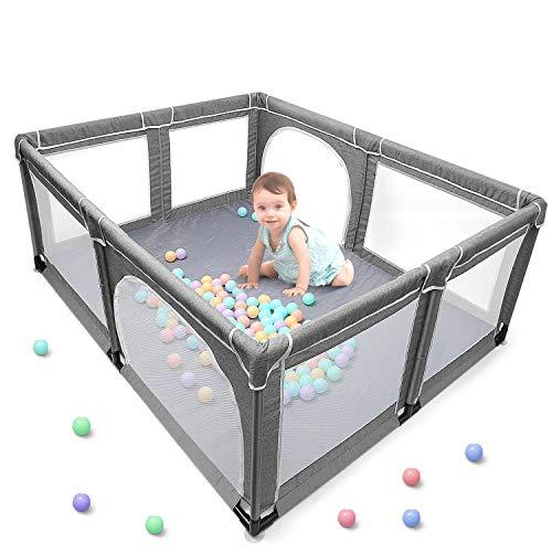 Yobest baby laufgitter, XXL laufstall baby, Aktivitätszentrum für Kinder im Innen- und Außenbereich mit Rutschfester Basis, Stabiler Schutzgitter für Kindern(190 * 150 *70cm)